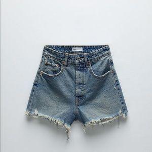 Zara Frayed Hi Rise Denim Shorts